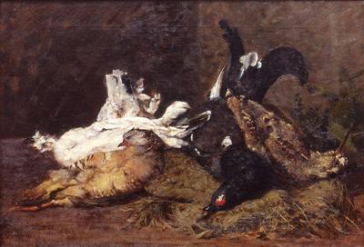 Giovanni Segantini, Natura morta con cacciagione (1880–1881), olio su tela, 53x78 cm, Rovereto, Mart