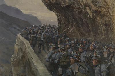 Albert Stolz, Gli Standschuetzen del battglione di Bolzano in marcia per il fronte il 19 maggio 1915, tagliata del Tombio, guazzo, 1916