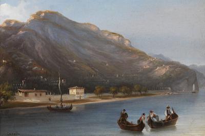 Giuseppe Canella, Limone lago di Garda, (1845), olio su tela, 30x40 cm, MAG