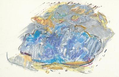 Attilio Forgioli, Il lago di Tenno, 27 luglio 2015, pastelli a olio su carta, cm 45x70