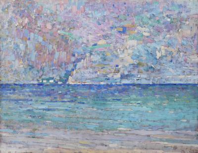 Luigi Bonazza (Arco 1872 - Trento 1965), Lago di Garda, 1926, olio su tela, MAG