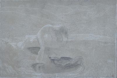 Giovanni Segantini, La vanità, (1898),gesso bianco e carboncino, Arco, Cassa Rurale Alto Garda