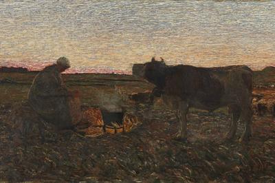 Giovanni Segantini, L'ora mesta, (1892), olio su tela, 45,5x83 cm, deposito collezione privata