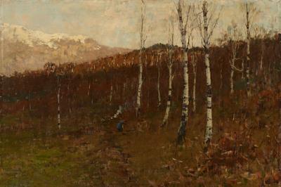 Bartolomeo Bezzi, Bosco ceduo (Bosco di betulle), 1886, olio su tela, 71 x 100,5 cm, Rovereto, Mart, Comune di Trento