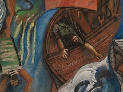 R. Schweizer, La tempesta sul lago, 1962, affresco staccato, particolare, collezione privata. Foto Jacopo Salvi.